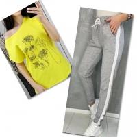 Костюм желтая футболка SIZE Plus женский образ и цветы с брюками серыми 01IN