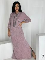 Длинное платье с капюшоном SIZE PLUS ангора пудра UM29