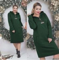 Платье-туника Size Plus на флисе хаки M29
