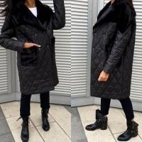 Удлиненная куртка комбинированная черная A116