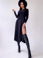 Платье миди с разрезом лапша черное UM29