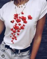 Футболка грозди сердечек белая D31 X105 111 SV