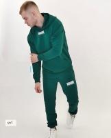 Мужской костюм двухнить штрих код зеленый SN