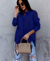 Рубашка плотный лайт со скрытыми пуговками синяя AZ116