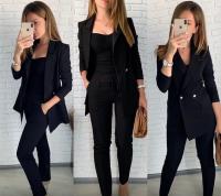 Костюм пиджак на подкладе барби и брюки черный ED111 114