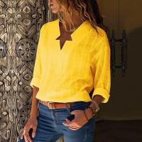 Рубашка вырез звезда полулен желтая R112 S111