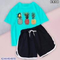 Костюм шорты и Бирюзовая футболка ананасы SV