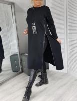 Туника-платье с молнией сбоку черная RH06