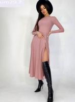 Платье миди с разрезом лапша пудра UM29