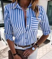 Рубашка голубая полоса с кармашком A116