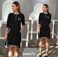 Платье с молнией на груди черное M29