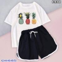Костюм шорты и белая футболка ананасы SV