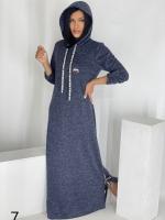 Длинное платье с капюшоном SIZE PLUS ангора синее UM29