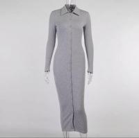 Платье лапша на пуговках серое D233