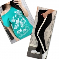 Костюм бирюза футболка SIZE Plus FLWERS с брюками черными IN