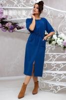 Платье итальянка с карманами ярко-синее UM29