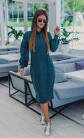 Платье-туника с капюшоном аквамарин OP37