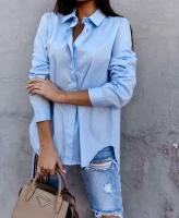 Рубашка плотный лайт со скрытыми пуговками голубая AZ116