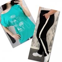 Костюм бирюза футболка SIZE Plus женский образ и цветы с брюками черными IN