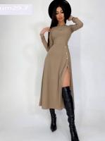 Платье миди с разрезом лапша бежевое UM29