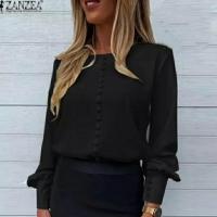 Блузка пуговки черная лайт A116