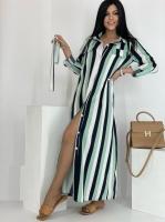 Платье SIZE PLUS макси на пуговках зеленая полоса RH122