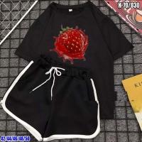 Шорты и футболка Сочная клубника черная SV