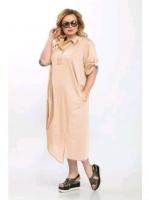 Платье лайт SIZE PLUS персиковое стразы RH122