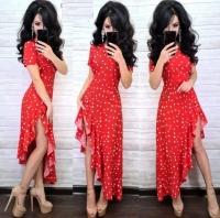 Платье софт в горошек асимметрия красное RX1