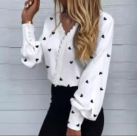 Рубашка вставка сердечки белая A133