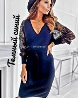 Платье турецкая лапша с гипюром темно-синее A116 KH110