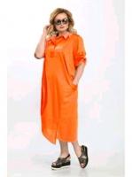 Платье лайт SIZE PLUS оранж стразы RH122