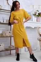 Платье итальянка с карманами горчица UM29