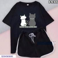 Шорты и черная футболка SIZE PLUS котики SV