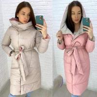 Двухсторонее пальто с капюшоном Розовое с Кремовым DIM