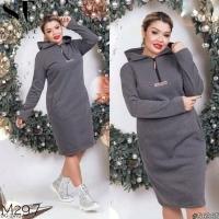 Платье-туника Size Plus на флисе серое M29