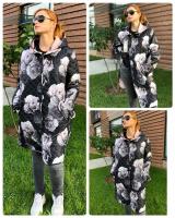 Стеганое пальто size Plus на пуговках розы KSU0297