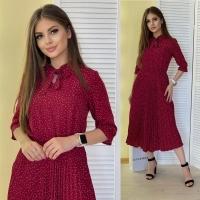 Платье софт плиссерованный низ бордо в горошек AZ116