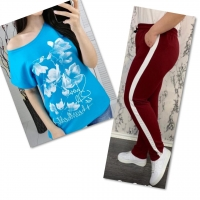 Костюм голубая футболка SIZE Plus FLWERS с брюками бордо IN