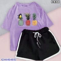 Костюм шорты и Сиреневая футболка ананасы SV