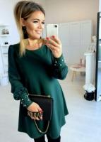 Платье барби с бусинами манжет зеленое O114