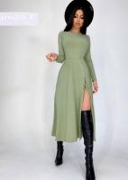 Платье миди с разрезом лапша мята UM29