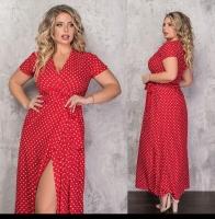 Платье софт SIZE PLUS на запах в горошек красное KH110