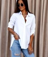 Рубашка плотный лайт белая со скрытыми пуговками белая AZ116