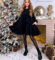Платье клеш вельвет черное S135 115