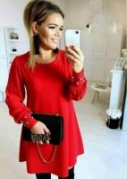 Платье барби с бусинами манжет красное O114