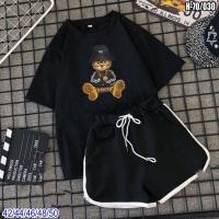 Шорты и футболка Мишка в шляпе черная SV