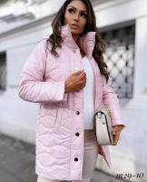 Стеганная глянцевая куртка Size Plus розовая M29