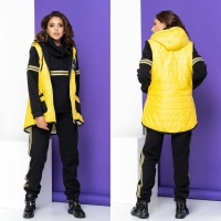 Желтый жилет черный костюм size plus A4-123