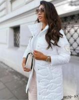 Стеганная глянцевая куртка Size Plus белая M29
